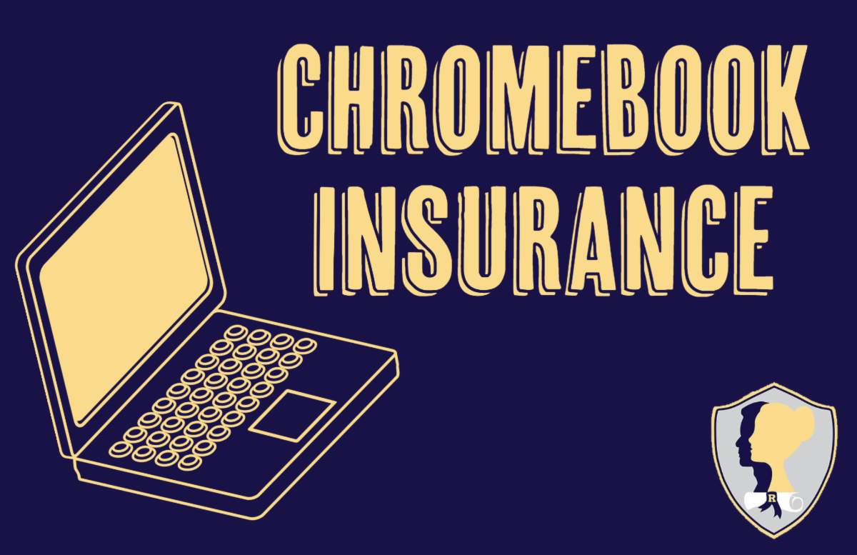 Navy background with a laptop graphic in lower left. The words Chromebook Insurance in gold with portrait of a graduate logo in the lower right corner.