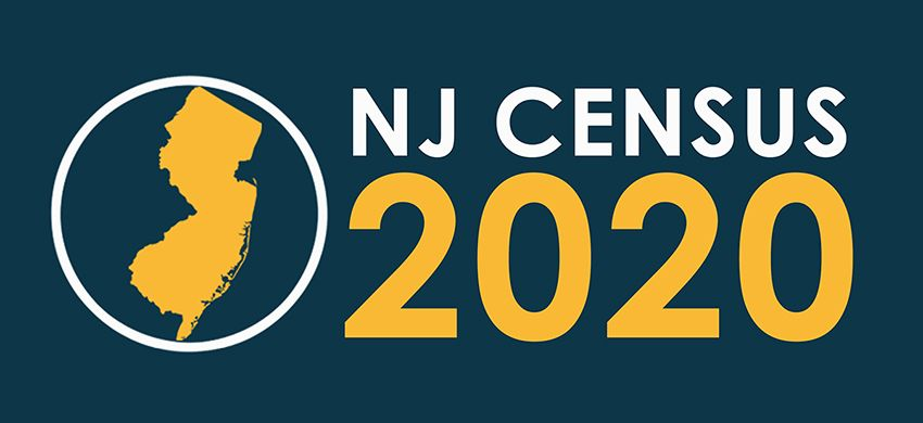 Blue background, white text that says NJ Census, gold text that says 2020 with a gold colored state of New Jersey