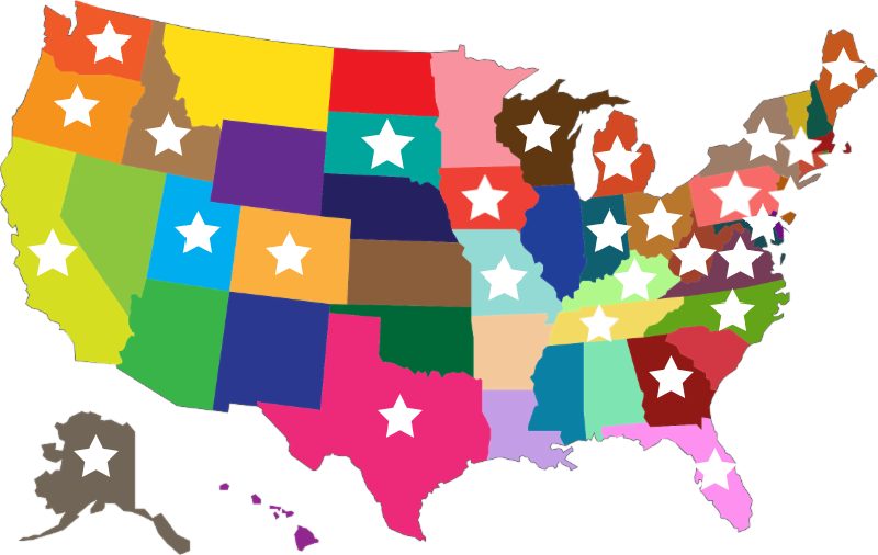 U.S. map marked with Blanket Angel Coordinator locations