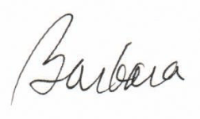 Barbara signature, first name only