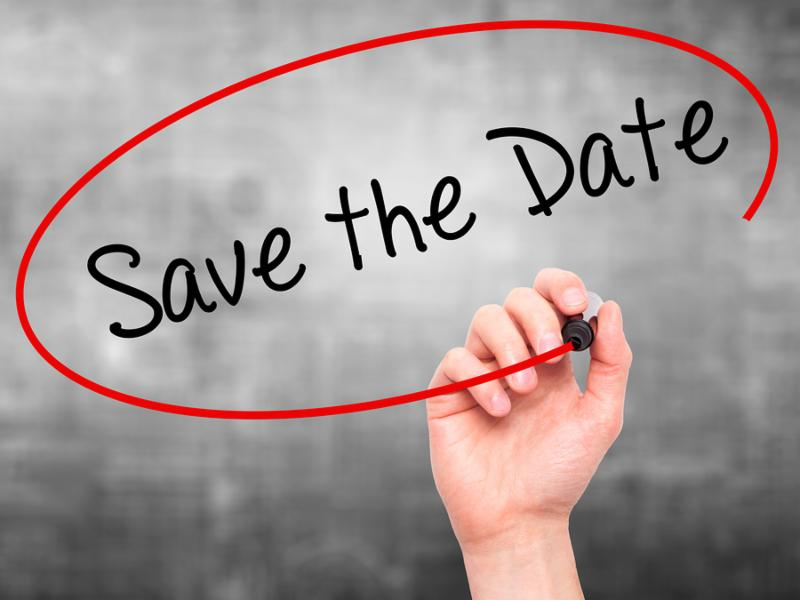 Man Hand writing Save the Date with black marker on visual screen. Isolated on grey. Business technology internet concept. Stock Photo
