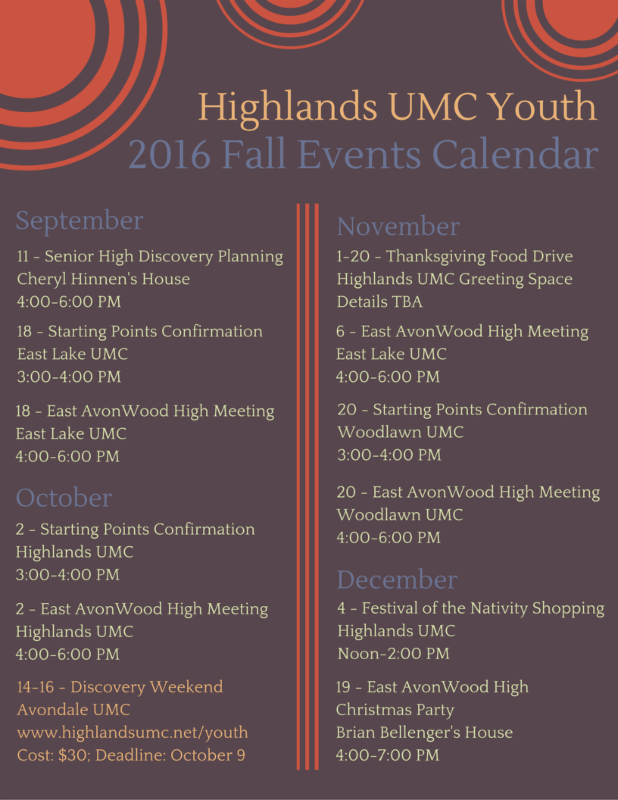 Fall Youth Calendar and announcements