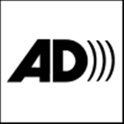 audio description logo_ black block capital letters spell out AD with three waves emanating from the curve of the D.