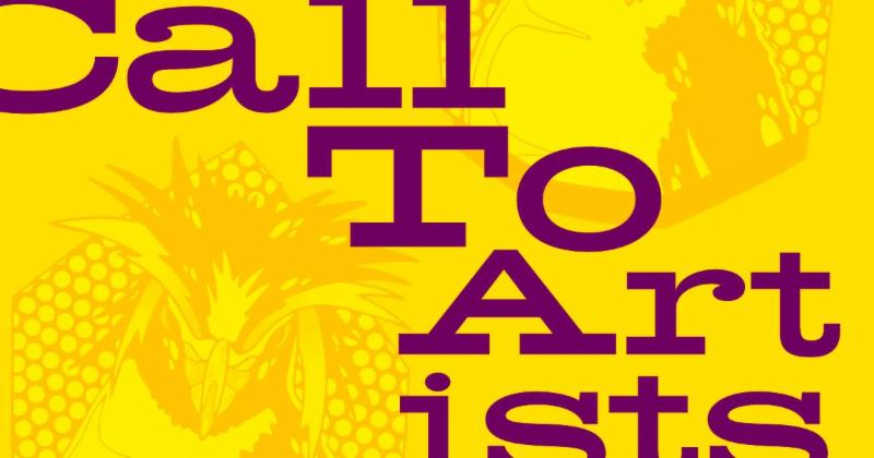 Yellow with purple words call to artists