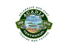 Acadia centenial logo