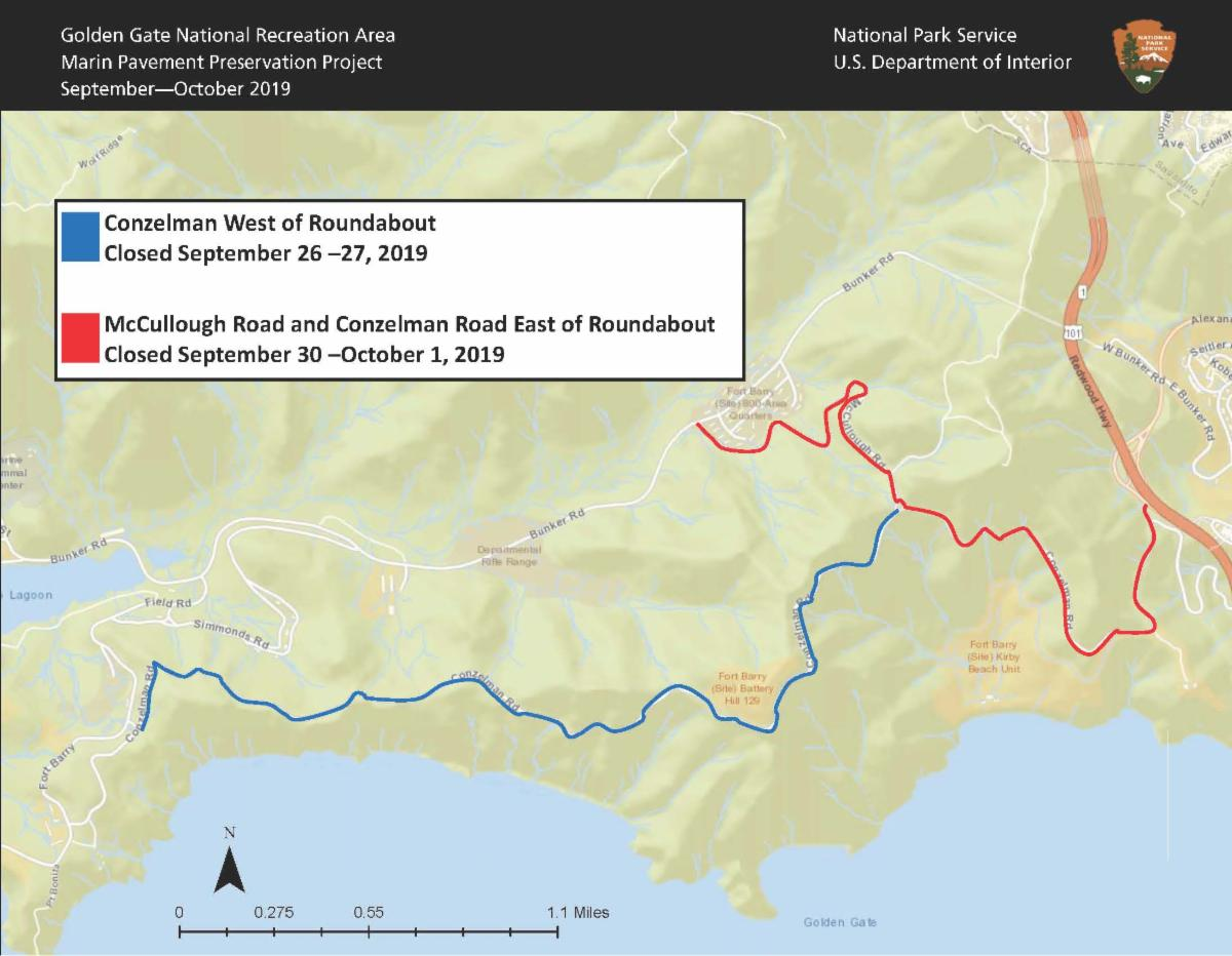 Map of upcoming closed areas in the Marin Headlands show McCullough and Conzelman Roads east of roundabout closed September 30 and October 1 in red with another blue portion showing Conzelman Road west of roundabout closed on September 26 and 27