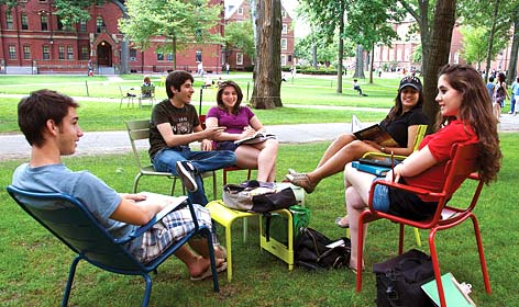 Clients taking a study break outside their dorm.