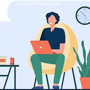 Laptop user illustration