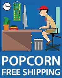 Scout at computer, Free Shipping on Popcorn