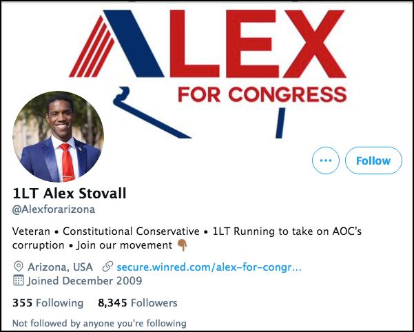 Screen shot of Stovall's campaign Twitter page