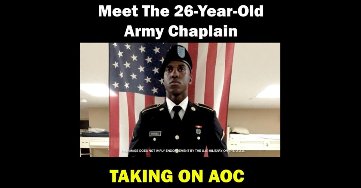 Stovall campaign ad with photo of Stovall in uniform and the text Meet the 26 year old Army chaplain taking on AOC