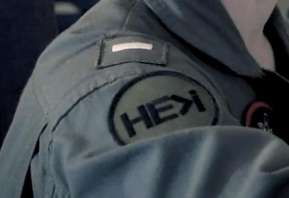 Close up of patch on Marine's uniform sleeve