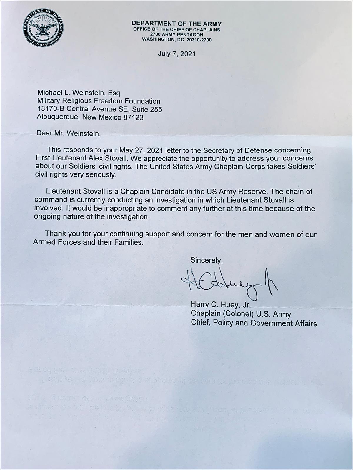 Letter from Pentagon regarding Alex Stovall