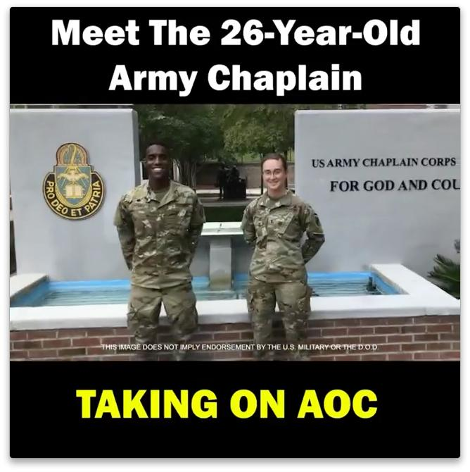 Screenshot of Stovall campaign video with photo of Stovall in uniform in front of the Army chaplain school and the text Meet the 26 year old Army chaplain taking on AOC