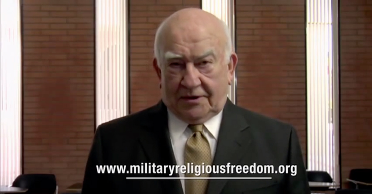 Ed Asner as he appeared in the Military Religious Freedom Foundation's movie With God On Our Side