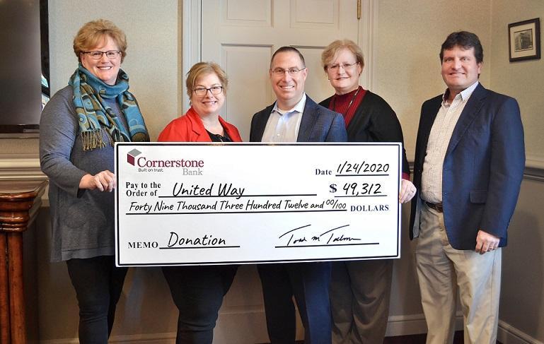 Cornerstone Donates to United Way