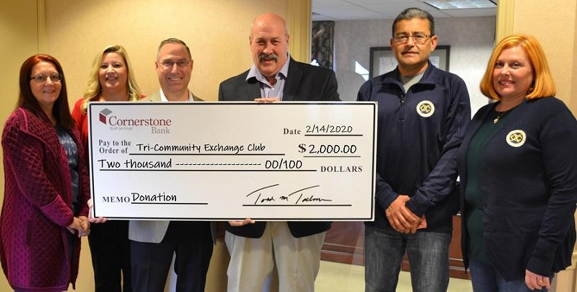 Cornerstone Bank Donation