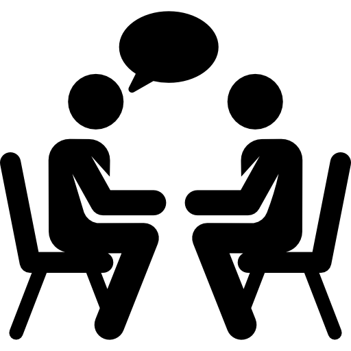 Clip art of two people talking.