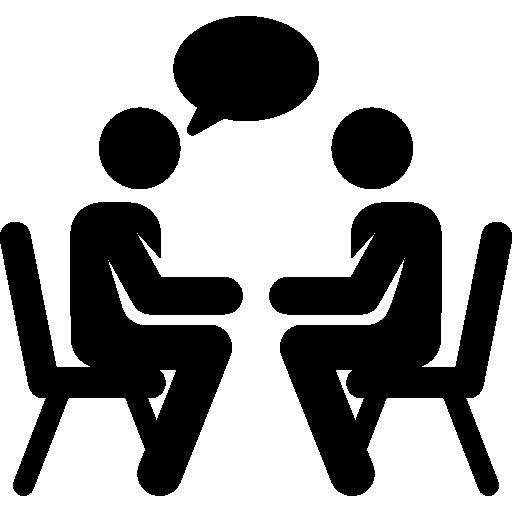 Clip art of two people talking.