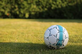 Soccer ball on empty field