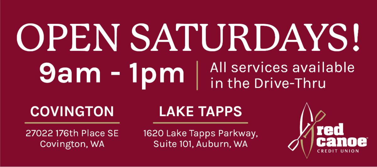 Red Canoe Credit Union is now open on Saturdays!