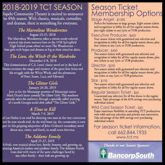 Tupelo Community Theater Calendar of Events