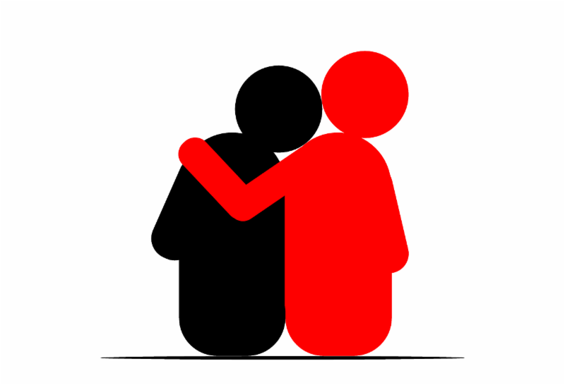 Two graphical figures hugging