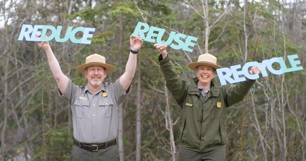 Pictured (left to right): Don Striker, Acting Director, Alaska Region National Park Service and Denice Swanke, Acting Superintendent, Denali National Park and Preserve.