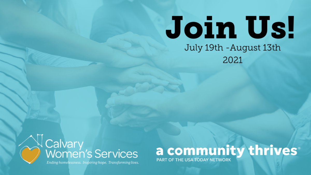 """Blue image with people putting their hands together in the middle of a circle. Text reads, """"Join Us! July 19th - August 13th 2021."""" Calvary logo and A Community Thrives logo on the bottom."""