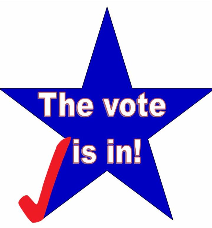Star with a check mark_ saying _The vote is in__