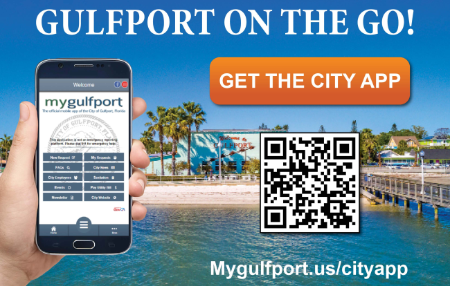 Gulfport on the go. City App Slide. Picture of hand with phone. Casino Ballroom with water and dock.