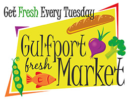 Get Fresh every Tuesday. Gulfport Fresh Market. Picture of fish and produce.