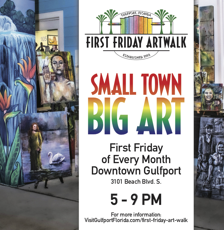 First Friday Art Walk flyer. Picture of art.