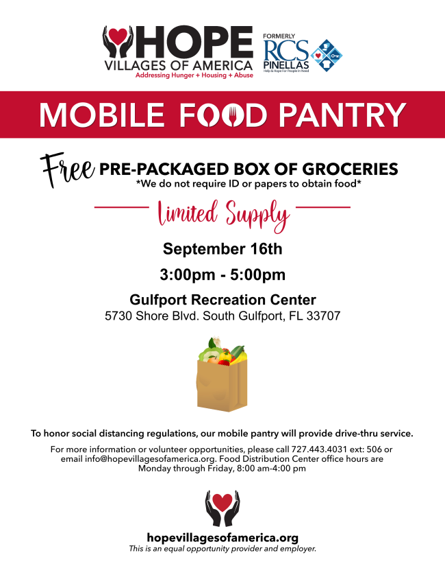 Mobile Food Pantry Flyer. Picture of groceries.