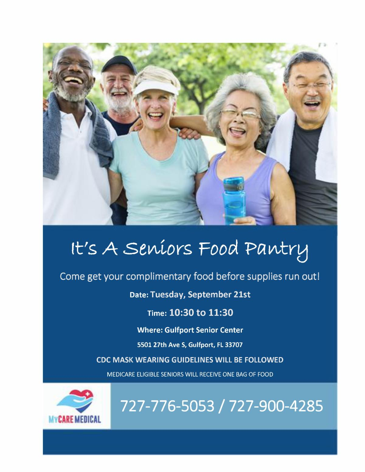 Seniors food pantry flyer. Picture of people smiling.