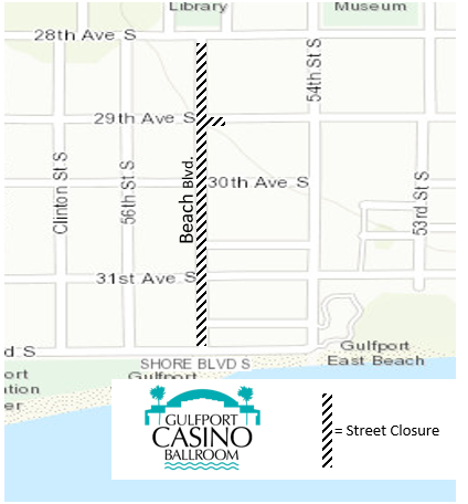 Map of the City of Gulfport's Beach Blvd.