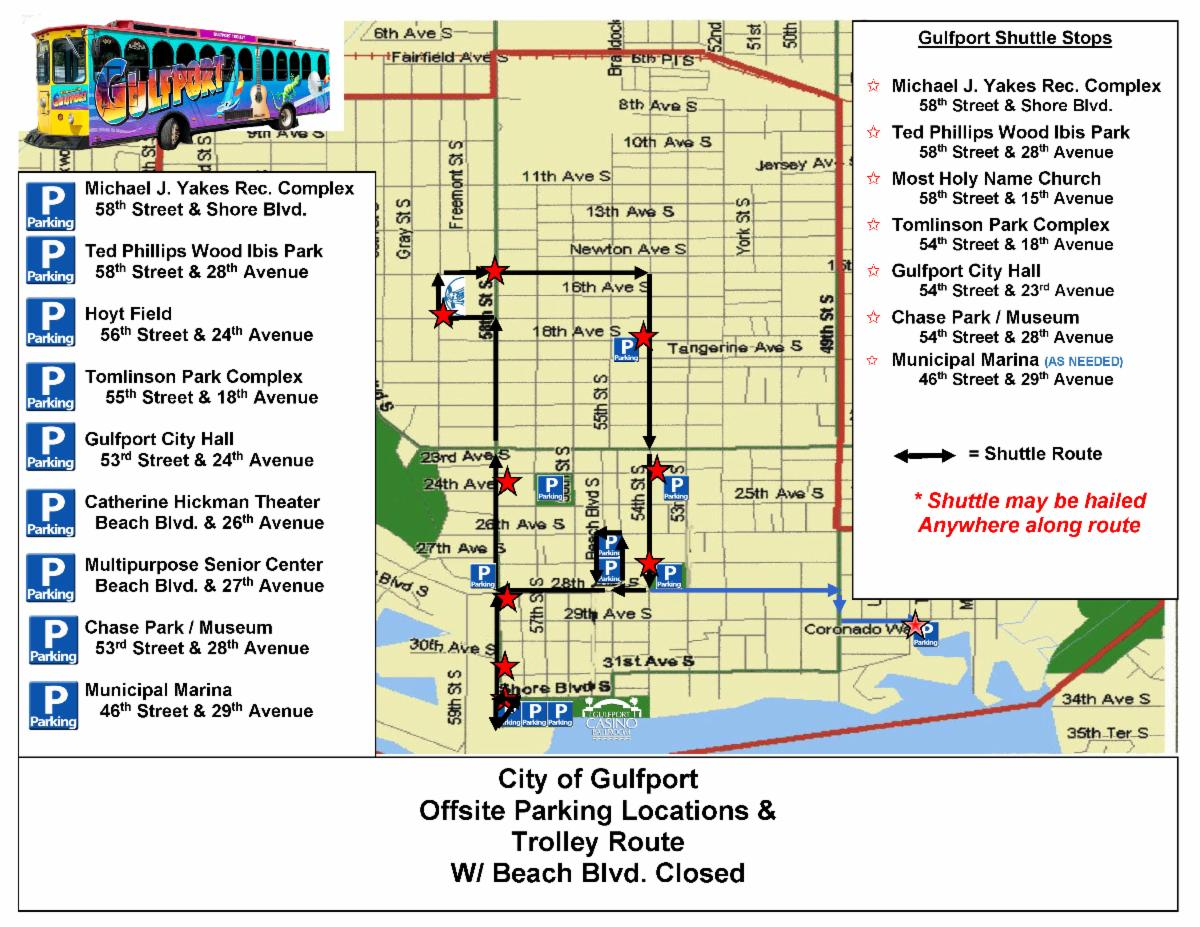 Trolley map for the City of Gulfport.