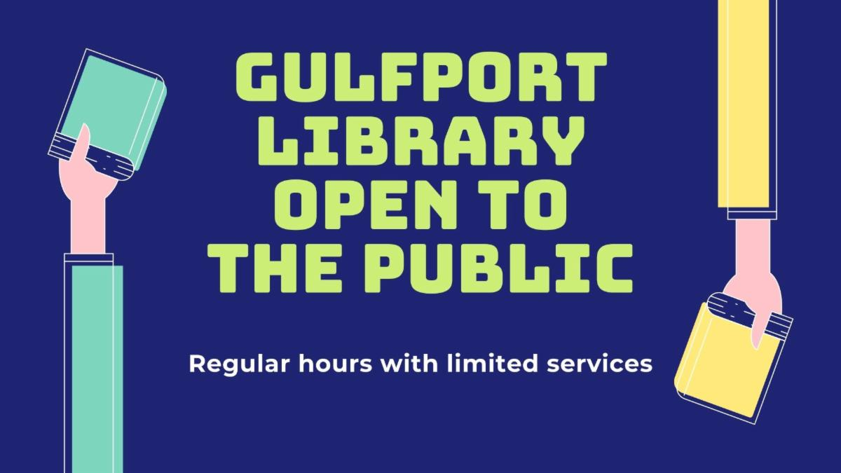 Gulfport Library Open to the Public. Regular hours with limited service. Hands with books.