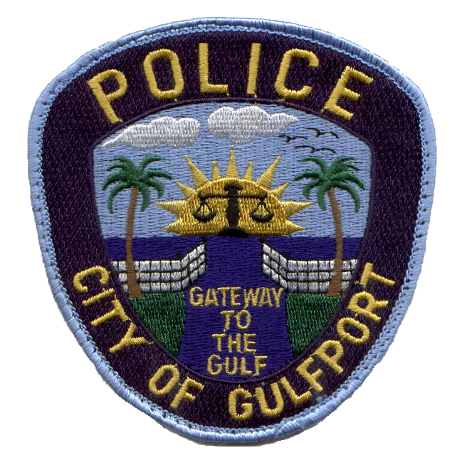 City of Gulfport Police patch. Picture of a sun with a gateway.