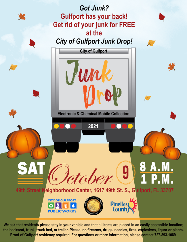 Junk Drop Flyer. Picture of truck with pumpkins and fall leaves.