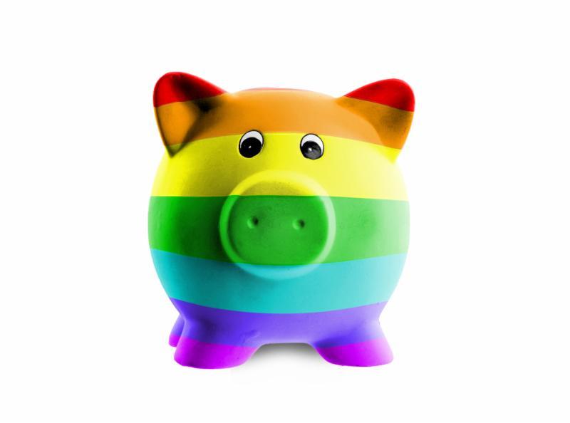 image of rainbow piggybank