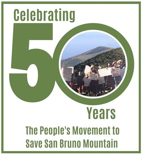 poster with large 50 and historical photo of protest on San Bruno mountain