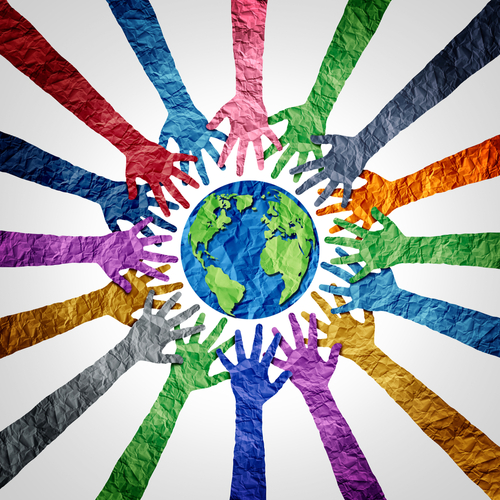 Global diversity or earth day and international world culture as a concept of international people cooperation as diverse hands holding together the planet.