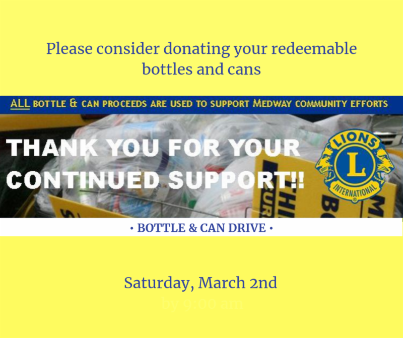 Medway Lions Club Can and Bottle Drive