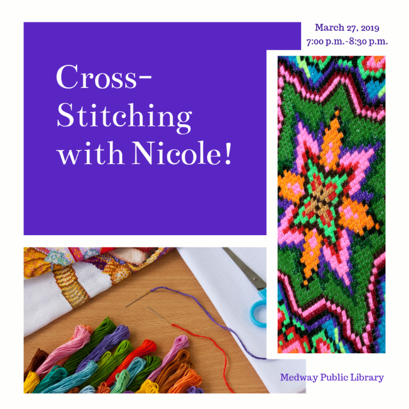 Medway Public Library Cross-Stitching Class