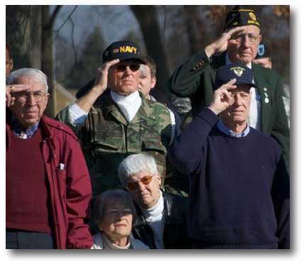 Veterans salute during the flag raising ceremony