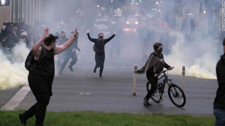 Portlanders being tear gassed