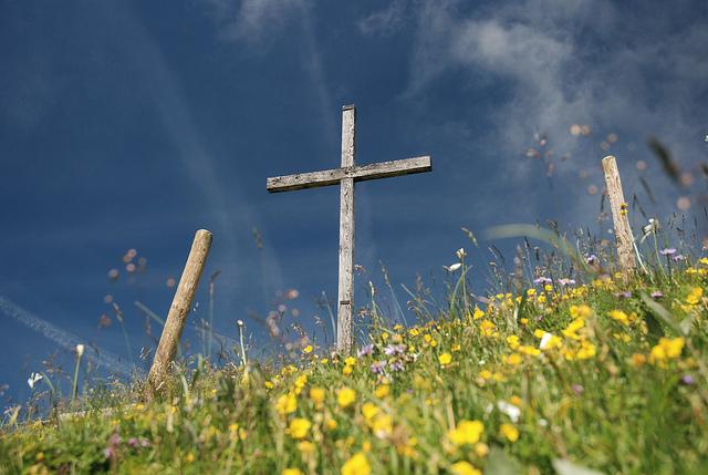 Cross in flowers