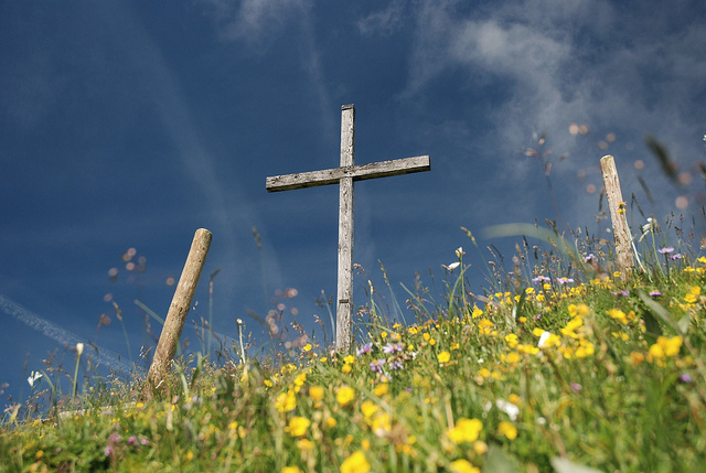 Cross in flowers