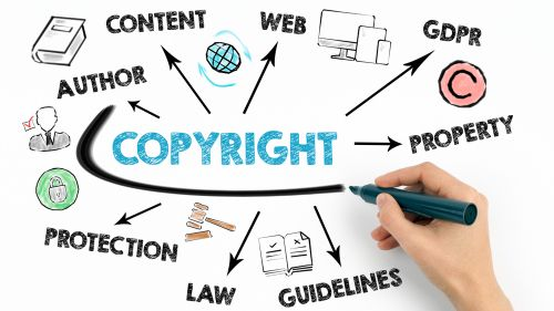 Copyright Concept. Chart with keywords and icons on white background